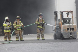 forklift burnt by fire