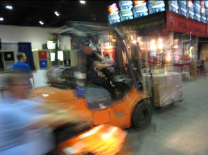 toyota forklift truck in warehouse