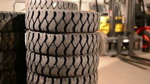 forklift tires in pile