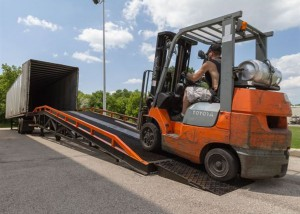 toyota forklift on ramp