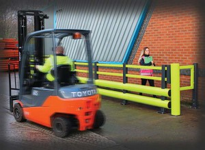 toyota forklift and a pedestrian