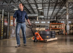 toyota pallet jack in warehouse with tires